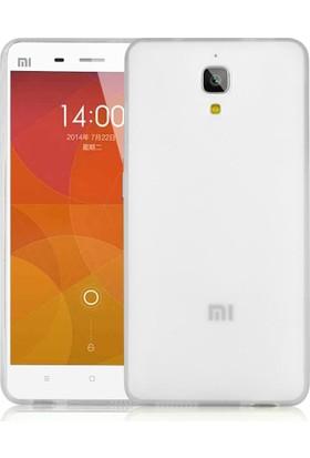 CaseUp Xiaomi Mi 4 Kılıf, CaseUp İnce Şeffaf Silikon Beyaz + Cam