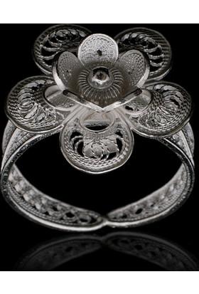 Akyüz Gümüş Papatya İşlemeli Telkari Gümüş Yüzük Yt009