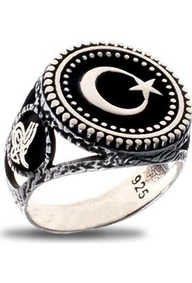 Akyüz Gümüş Ay Yıldızlı Osmanlı Tuğralı Gümüş Yüzük Ey012