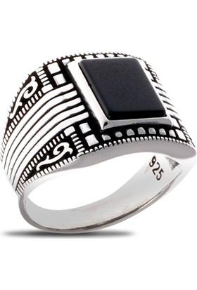 Akyüz Gümüş Siyah Akik Taşlı Gümüş Yüzük Ey025