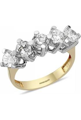 Sembolgold Özel Tasarım! Altın 5 Taş Yüzük Zirkon Taşlı Sg42-783426