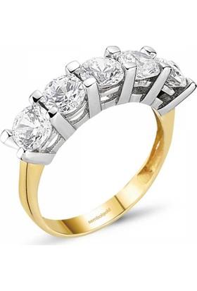 SembolGold Altın 5 Taş Yüzük SG42-783407