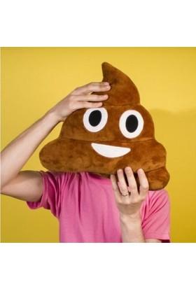 Hediye Paketim Kahverengi Gülen Poo Emoji Yastık