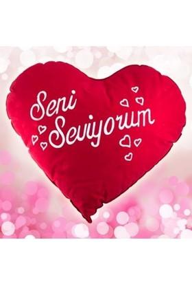 Hediye Paketim Seni Seviyorum Kalp Yastık 50Cm