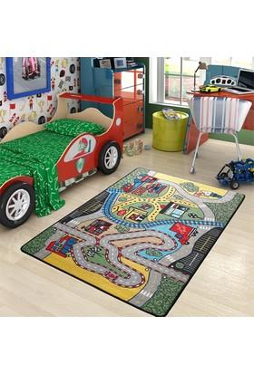Confetti Race Yeşil Çocuk Halısı 100 x 150 cm