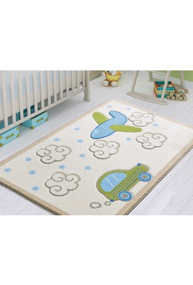 Confetti Bebek Road Çocuk Halısı - Beyaz 100 x 150 cm