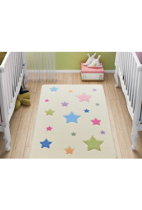 Confetti Bebek Stars Çocuk Halısı - Beyaz 100 x 150 cm