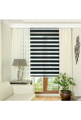 Homeyram Düz Ekonomik Zebra Perde - Siyah 80x200 cm