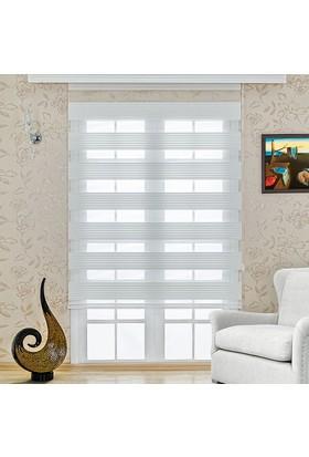 Homeyram Pilice Serisi Zebra Perde - Beyaz 90x200 cm