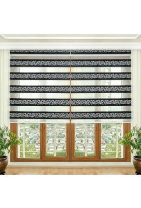 Homeyram Simli Jakar Serisi Siyah Zebra Perde 90x200 cm