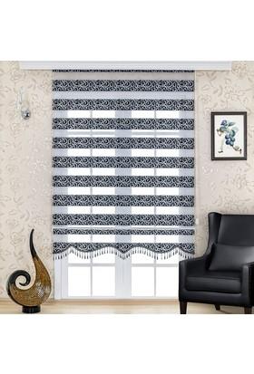 Homeyram Simli Jakar Serisi Zebra Perde - Siyah 90x200 cm