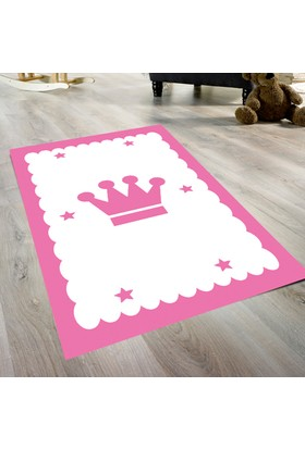 Cici Kraliçe Tacı Pembe Kız Çocuk Odası Halısı 571 90x140 cm