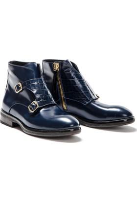 Silvio Massimo Hakiki Rugan Deri Tokalı Erkek Ayakkabı Bot