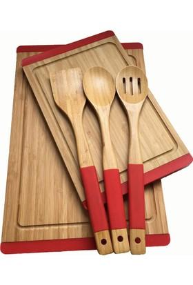 N2325 Sweet Bambu Kırmızı Mutfak Set