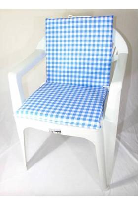 Deran Home 2Li Mavi Kareli Sandalye Minderi 240