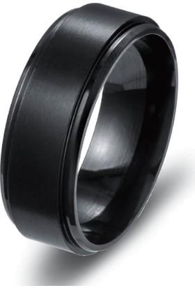 Chavin Ortası Mat Siyah Erkek Çelik Alyans Yüzük Dm13 28