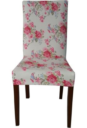 Akçağ Koltuk Örtüsü Likralı Desenli Sandalye Kılıfı Gül Bahçesi