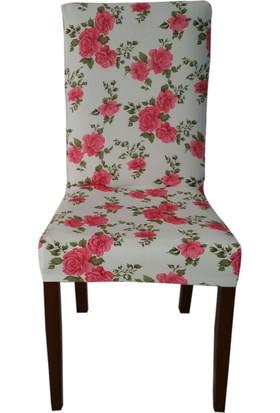 Akçağ Koltuk Örtüsü Likralı Desenli Sandalye Kılıfı Güller