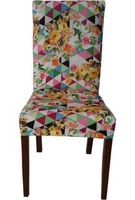 Akçağ Koltuk Örtüsü Likralı Desenli Sandalye Kılıfı Renk Cümbüşü