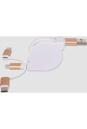 Kualit Üçü Birarada Usb Şarj Kablosu Çekçekli (Mıcro-Usb,Lıghtnıng,Type-C)