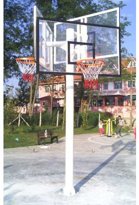 Basketbol Potası Üçlü Grup Standart Yükseklik 2 mm Sac ,105*180 , 45 Cm Sabit Çe. 4 mm Floş İp File