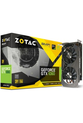 Zotac AMP! Edition Nvidia GeForce GTX 1060 3GB 192Bit DDDR5 (DX12) PCI-E 3.0 Ekran Kartı ZT-P10610E-10M