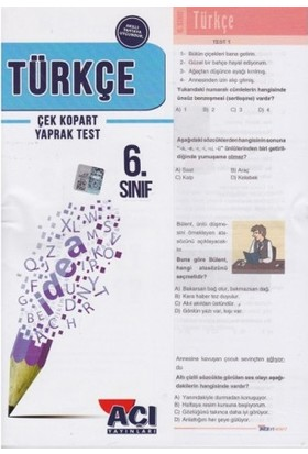 Açı Yayınları 6.Sınıf Türkçe Çek Kopart