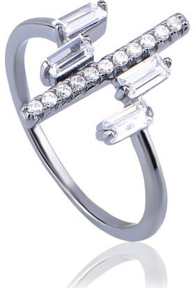 Coşar Silver Şeritli Gümüş Yüzük Cz-R1386-1