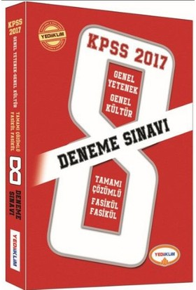 Yediiklim Eğitim Yayıncılık Kpss 2017 Tamamı Çözümlü Fasikül Fasikül 8 Deneme