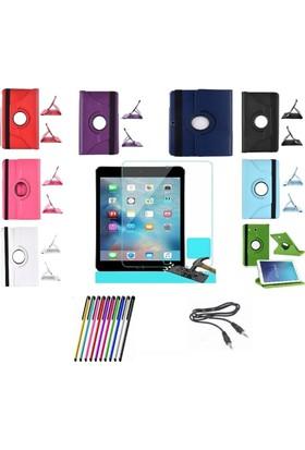 Mustek samsung Tab T560 360 Dönerli Tablet Kılıf+9H Kırılmaz Cam+Kalem+Aux Kablo