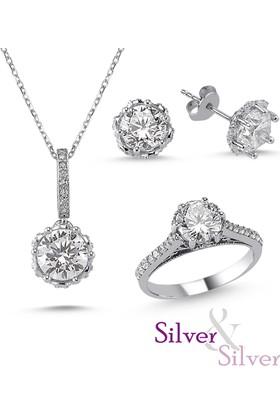 Silver & Silver Zirkon Kalbimin Taçı Tek Taş Set