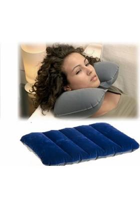 Fdm Havalı Seyehat Yastığı Ve Minder ( 2 Li Set )