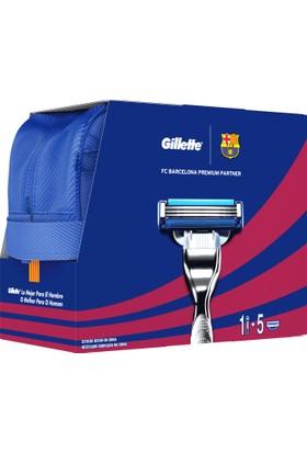 Gillette Mach3 Turbo Özel Barcelona Serisi Tıraş Makinesi + 4'lü Tıraş Bıçağı + 75 ml Jel (Çanta Hediyeli!)