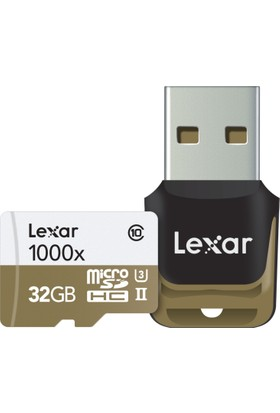 Lexar 32GB 1000X MicroSDHC High Speed Hafıza Kartı + Reader Class10 U3 (LSDMI32GCBEU1000R)