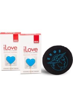 Eros iLove Ozel Kivrimli Prezervatif 2 Paket ve 1 adet Eros Bardak Altligi Hediye