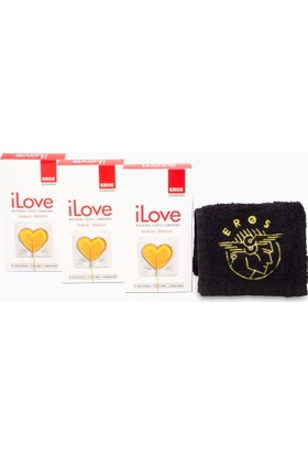 Eros iLove Halkali Prezervatif 3 Paket ve 1 adet Eros El Havlusu Hediye