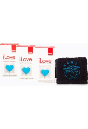 Eros iLove Ozel Kivrimli Prezervatif 3 Paket ve 1 adet Eros El Havlusu Hediye