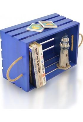 Purupa Dekoratif Ahşap Kasa Kitaplık Raf Mavi