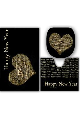 Kalpli Happy New Year Banyo Paspas Klozet Set