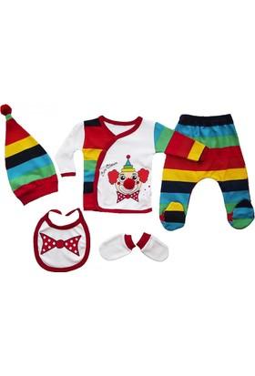 Baby Pearly Palyaço Kostümlü 5 Parça Hastane Çıkışı Zıbın Seti