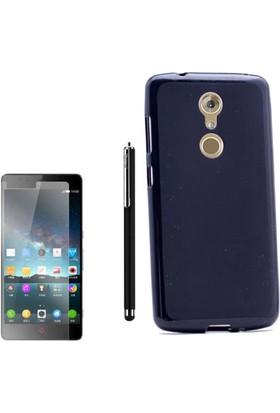 Gpack Zte Axon 7 Mini Kılıf Süper Silikon Arka Kapak Siyah + Kalem + Cam