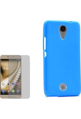 Gpack Casper Via E1C Kılıf Parlak Silikon Süper Kılıf Mavi + Cam