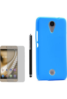 Gpack Casper Via E1C Kılıf Parlak Silikon Süper Kılıf Mavi + Kalem + Cam
