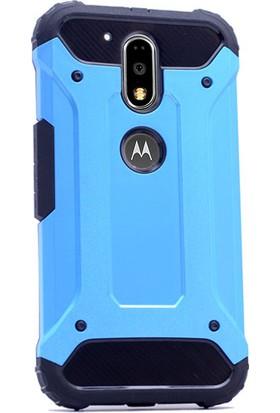 Gpack Motorola Moto G4 Plus Kılıf Crash Darbe Emici İçi Silikon Sert Kılıf Mavi