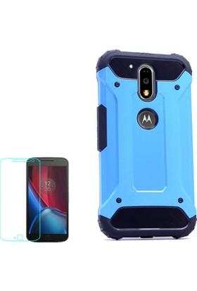 Gpack Motorola Moto G4 Plus Kılıf Crash Darbe Emici İçi Silikon Sert Kılıf Mavi + Cam