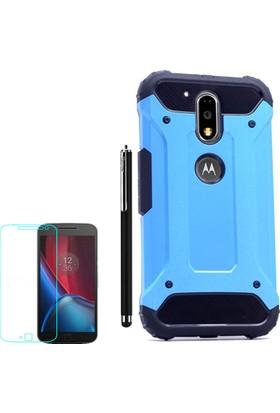 Gpack Motorola Moto G4 Plus Kılıf Crash Darbe Emici İçi Silikon Sert Kılıf Mavi + Kalem + Cam