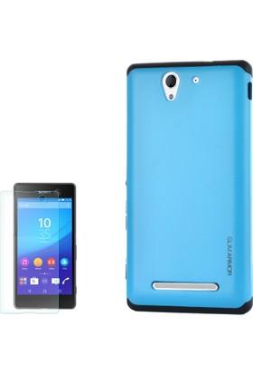 Gpack Sony Xperia C4 Kılıf Sert Arka Kılıf Slim Case Armor Mavi + Cam