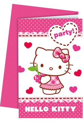Tahtakale Toptancısı Hello Kitty Kalpler Parti Davetiyesi (6 Adet)