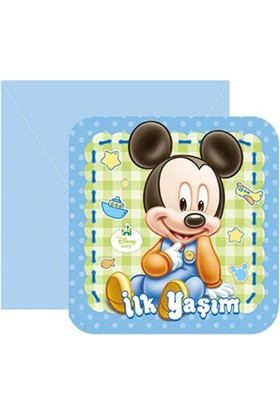Tahtakale Toptancısı Mickey Mouse İlk Yaşım Parti Davetiyesi (6 Adet)