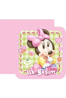 Tahtakale Toptancısı Minnie Mouse İlk Yaşım Parti Davetiyesi (6 Adet)